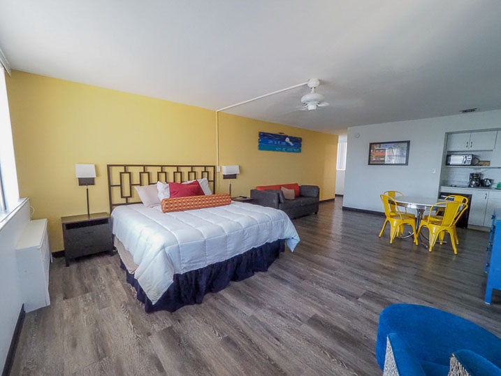 Our second floor efficiency provides a king-sized bed, dining area and kitchenette.