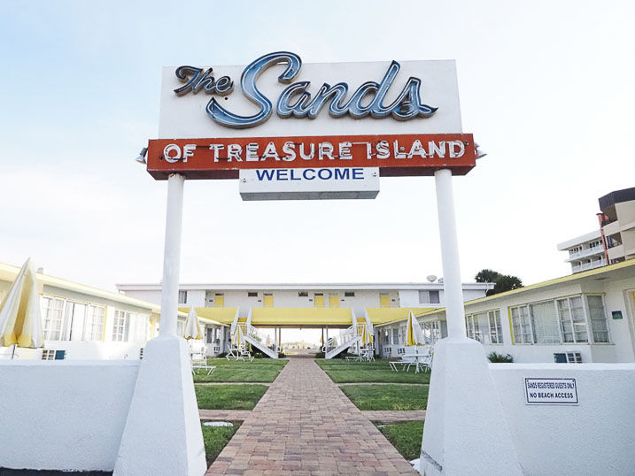 Main entrance to The Sands of Treasure Island located on Gulf Boulevard.