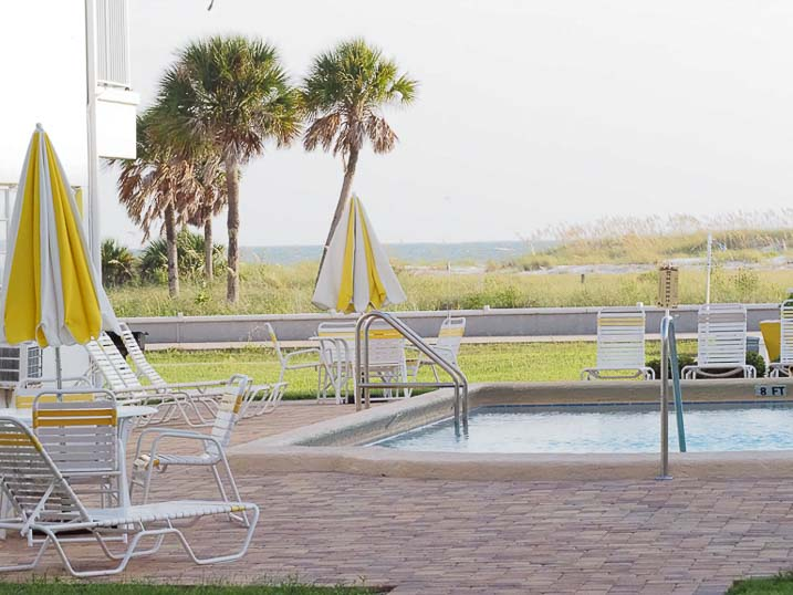Our beach-front pool provides views of the Gulf of Mexico and Florida palm trees.