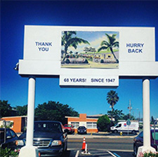 Our front entrance sign is a landmark when driving down Gulf Boulevard on Treasure Island.