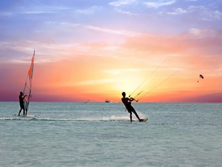 Windsurfing is popular recreational activity on the Gulf of Mexico.